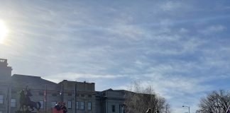 Trump supporters are shown in front of the Montana capitol building