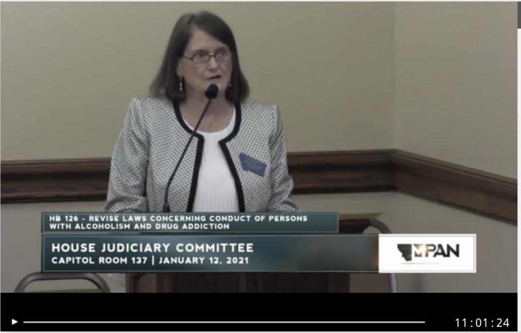 Kathy Kelker speaks on behalf of House Bill 126